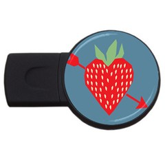 Fruit Red Strawberry Usb Flash Drive Round (4 Gb) by Mariart