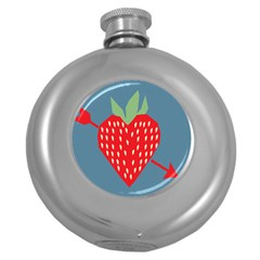 Fruit Red Strawberry Round Hip Flask (5 Oz) by Mariart