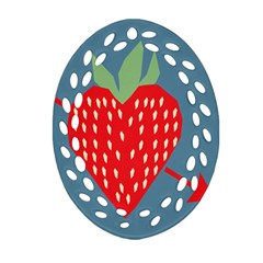 Fruit Red Strawberry Ornament (oval Filigree) by Mariart