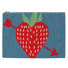 Fruit Red Strawberry Cosmetic Bag (xxl)  by Mariart