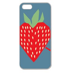 Fruit Red Strawberry Apple Seamless Iphone 5 Case (clear) by Mariart
