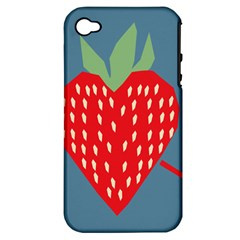 Fruit Red Strawberry Apple Iphone 4/4s Hardshell Case (pc+silicone) by Mariart
