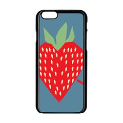 Fruit Red Strawberry Apple Iphone 6/6s Black Enamel Case
