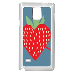 Fruit Red Strawberry Samsung Galaxy Note 4 Case (white) by Mariart