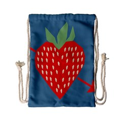 Fruit Red Strawberry Drawstring Bag (small) by Mariart