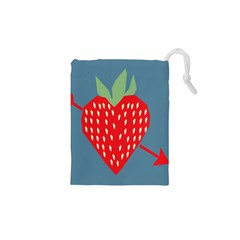 Fruit Red Strawberry Drawstring Pouches (xs)  by Mariart