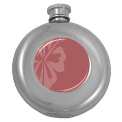 Hibiscus Sakura Red Round Hip Flask (5 Oz) by Mariart