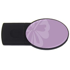 Hibiscus Sakura Lavender Herb Purple Usb Flash Drive Oval (4 Gb) by Mariart