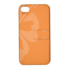 Hibiscus Sakura Tangerine Orange Apple Iphone 4/4s Hardshell Case With Stand by Mariart