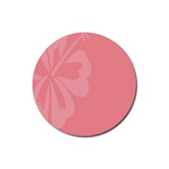 Hibiscus Sakura Strawberry Ice Pink Rubber Round Coaster (4 Pack)  by Mariart
