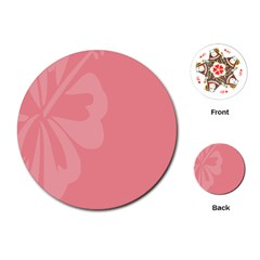 Hibiscus Sakura Strawberry Ice Pink Playing Cards (round)  by Mariart