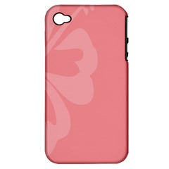 Hibiscus Sakura Strawberry Ice Pink Apple Iphone 4/4s Hardshell Case (pc+silicone) by Mariart
