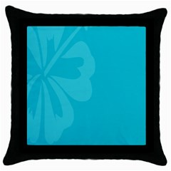 Hibiscus Sakura Scuba Blue Throw Pillow Case (black) by Mariart