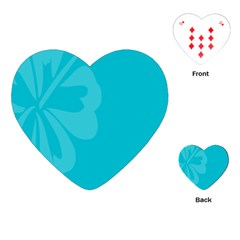 Hibiscus Sakura Scuba Blue Playing Cards (heart)  by Mariart