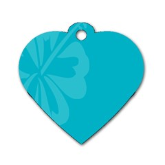 Hibiscus Sakura Scuba Blue Dog Tag Heart (one Side) by Mariart
