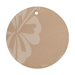 Hibiscus Sakura Toasted Almond Grey Ornament (round) by Mariart