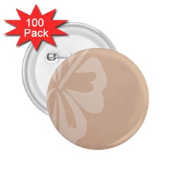 Hibiscus Sakura Toasted Almond Grey 2 25  Buttons (100 Pack)  by Mariart