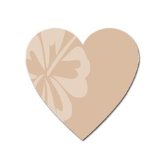 Hibiscus Sakura Toasted Almond Grey Heart Magnet by Mariart