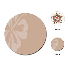 Hibiscus Sakura Toasted Almond Grey Playing Cards (round)  by Mariart