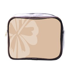 Hibiscus Sakura Toasted Almond Grey Mini Toiletries Bags by Mariart