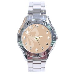 Hibiscus Sakura Toasted Almond Grey Stainless Steel Analogue Watch by Mariart