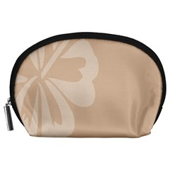 Hibiscus Sakura Toasted Almond Grey Accessory Pouches (large)  by Mariart