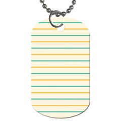 Horizontal Line Yellow Blue Orange Dog Tag (two Sides) by Mariart