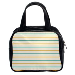 Horizontal Line Yellow Blue Orange Classic Handbags (2 Sides) by Mariart