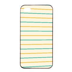 Horizontal Line Yellow Blue Orange Apple Iphone 4/4s Seamless Case (black) by Mariart