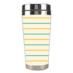 Horizontal Line Yellow Blue Orange Stainless Steel Travel Tumblers by Mariart