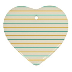 Horizontal Line Yellow Blue Orange Ornament (heart) by Mariart