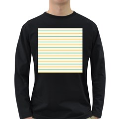 Horizontal Line Yellow Blue Orange Long Sleeve Dark T Shirts by Mariart