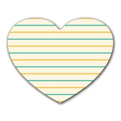 Horizontal Line Yellow Blue Orange Heart Mousepads by Mariart