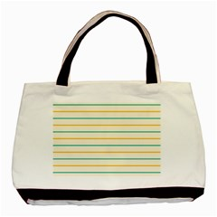 Horizontal Line Yellow Blue Orange Basic Tote Bag (two Sides) by Mariart