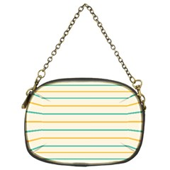 Horizontal Line Yellow Blue Orange Chain Purses (two Sides)  by Mariart