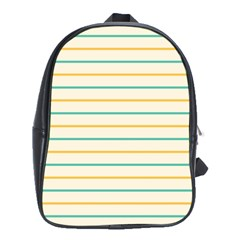 Horizontal Line Yellow Blue Orange School Bags (xl)  by Mariart