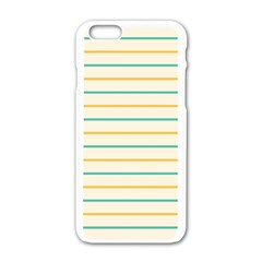 Horizontal Line Yellow Blue Orange Apple Iphone 6/6s White Enamel Case by Mariart