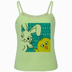 Easter Bunny And Chick  Green Spaghetti Tank by Valentinaart