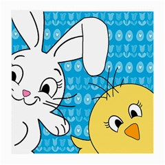 Easter Bunny And Chick  Medium Glasses Cloth (2 Side) by Valentinaart