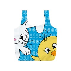 Easter Bunny And Chick  Full Print Recycle Bags (s)