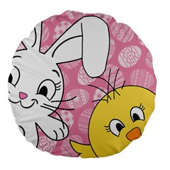 Easter Bunny And Chick  Large 18  Premium Flano Round Cushions by Valentinaart