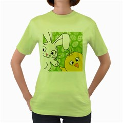 Easter Bunny And Chick  Women s Green T Shirt