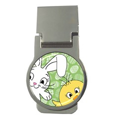 Easter Bunny And Chick  Money Clips (round)  by Valentinaart