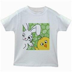 Easter Bunny And Chick  Kids White T Shirts