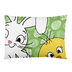 Easter Bunny And Chick  Pillow Case by Valentinaart