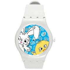 Easter Bunny And Chick  Round Plastic Sport Watch (m) by Valentinaart