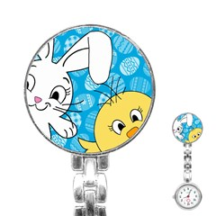 Easter Bunny And Chick  Stainless Steel Nurses Watch by Valentinaart