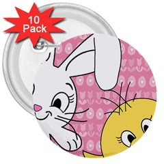 Easter Bunny And Chick  3  Buttons (10 Pack)  by Valentinaart