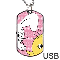 Easter Bunny And Chick  Dog Tag Usb Flash (one Side) by Valentinaart