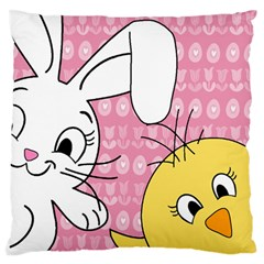 Easter Bunny And Chick  Standard Flano Cushion Case (two Sides) by Valentinaart